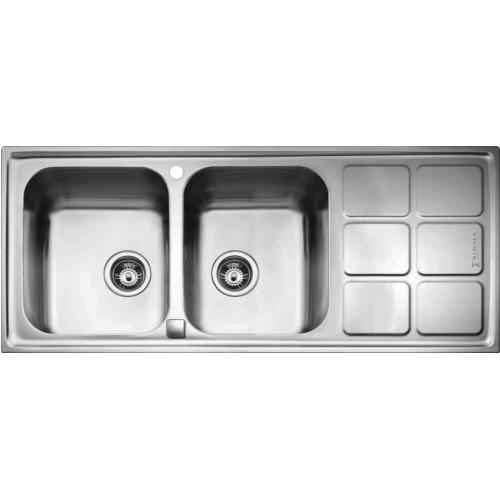 سینک ظرفشویی  دو لگن الیکا مدل SINK T Cuadro Semiflo 2b10 116.50 steel